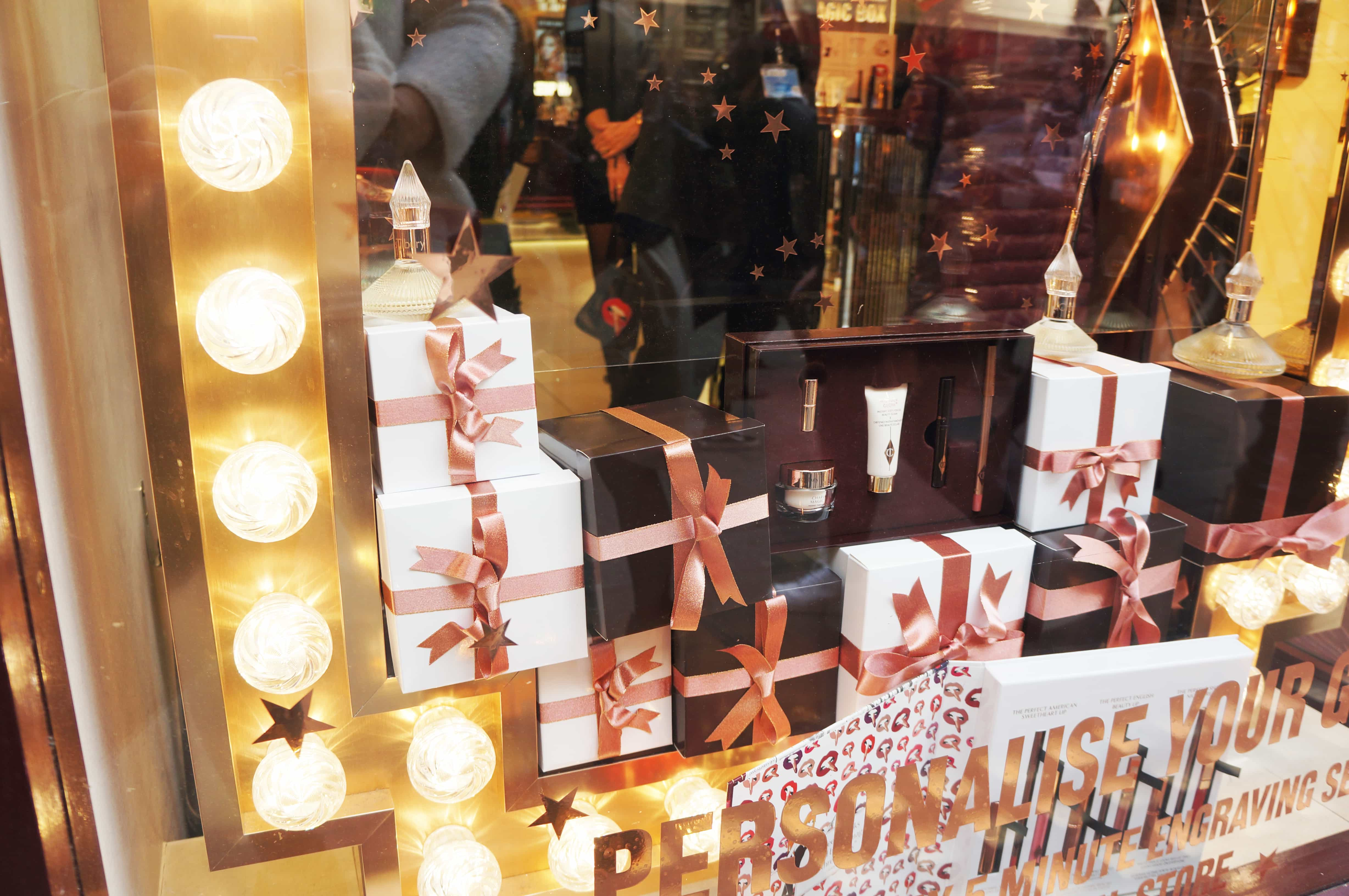 Presents wrapped in a window display