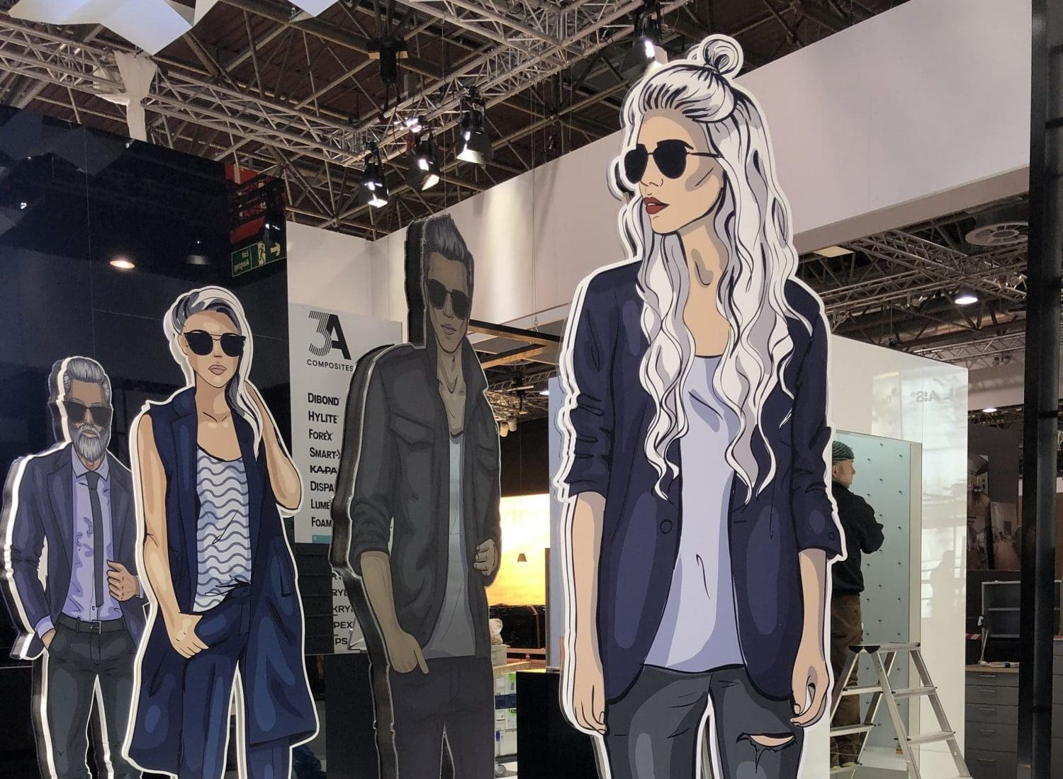 Cardboard cut outs at retail trade fair